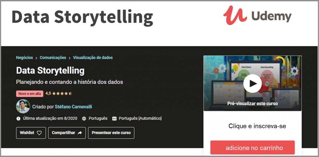 Curso Data Storytelling com aulas gravadas e interação com o professor via mensagens